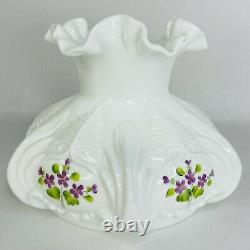 Fenton Milk GlassTable Lamp Hand Painted Violets in the Snow Electric Student