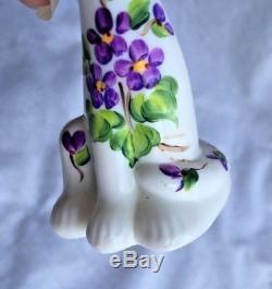 Fenton Mini Alley Kitty Cat Violets in the Snow Milk Glass CC Hardman Rare
