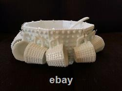 Fenton Octangle White Hobnail Milk Glass Punch Bowl with 12 Cups EARLY 1950s