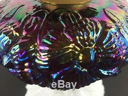 Fenton Poppy Oil Lamp Red/Amethyst Carnival Font Milk Glass Base