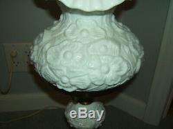 Fenton Poppy White Milk Glass Gone With the Wind Lamp Hurricane GWTW 21 WORKS