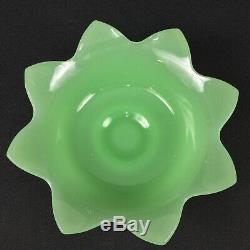 Fenton September Morn 5-Piece Console Set Jadeite Lotus Bowl Milk Glass Nymph