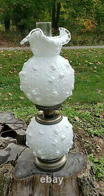 Fenton Silver Creast Cabbage Rose 3 Way Gone with the Wind Lamp Beautiful
