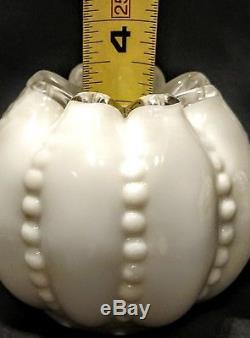 Fenton Silver Crest Beaded Melon Milk Glass Miniature Oil Lamp