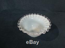Fenton Silver Crest Deep Dessert Bowls White Milkglass Mayo Sherbet Vtg Set of 8