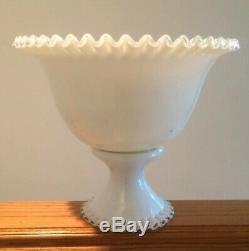 Fenton Silver Crest Punch Bowl Pedestal Base White Ruffle Milk glass Wedding
