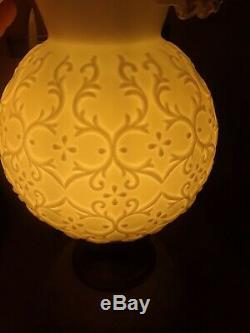 Fenton Silver Crest Spanish Lace Milk Glass Gone With The Wind Double Ball Lamp
