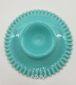 Fenton Silver Crest Turquoise Blue Opaline Milk Glass Cake Plate Stand RARE