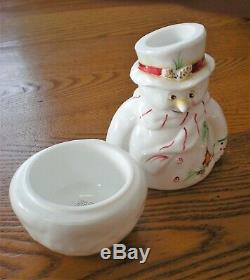 Fenton Snowman Fairy Light Candle Lamp Milk Glass Hand Painted & Signed