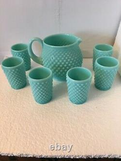 Fenton Turquoise Milk Glass Hobnail Blue Green Pitcher And Glasses Tumblers