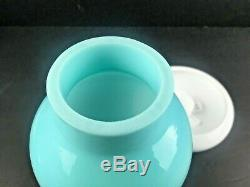 Fenton Turquoise Silver Crest Hurricane Fairy Lamp with Milk Glass Base