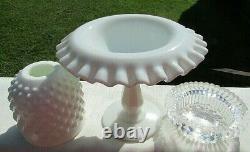 Fenton Vintage 1970's Milk Glass Hobnail 3 pc Pedestal Fairy Lamp