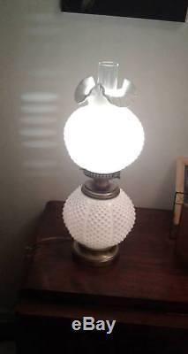 Fenton Vintage White milk glass White Hobnail Double Ball Lamp gone w the wind