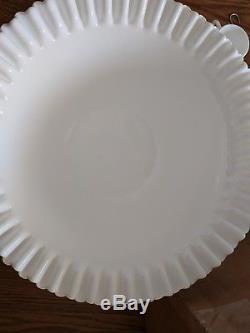 Fenton White Hobnail Milk Glass Punch Bowl Pedestal Base 12 cups Holy Grail