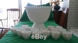 Fenton White Hobnail Milk Glass Punch Bowl Pedestal Base(3718) 16 cups HTF