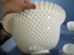 Fenton White Hobnail Milk Glass Punch Bowl Set Bowl, Pedestal Base & 12 Cups