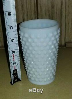 Fenton White Milk Glass Hobnail 8 Pitcher & 8 5 Tumblers Set, Vintage, EUC