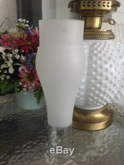 Fenton White Milk Glass Hobnail Round Globe Double Ball Hurricane Lamp GWTW