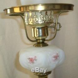 Fenton White Satin Milk Glass Elizabeth Pattern Hand Painted/Signed Student Lamp