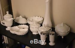 Fenton hobnail mix White Milk Glass set
