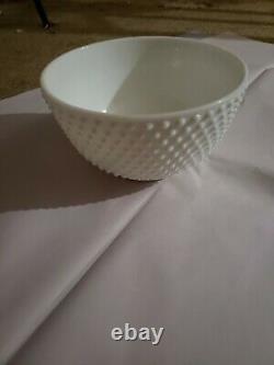Fenton white hobnail milk glass punch bowl