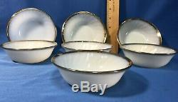 Fire King 86 Piece Set White Swirl Milk Glass with Gold Trim Anchor Hocking Dishes