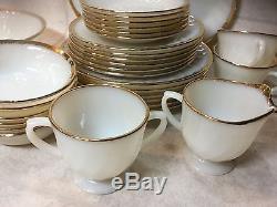 Fire King Anchor Hocking Golden Anniversary MilkGlass Dishes 22k Gold Trim set 6