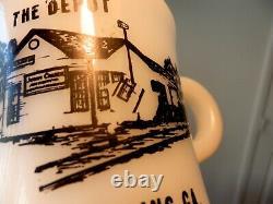 Fire King Anchor Hocking Mug White Heavy THE DEPOT PLAINS, GA Rare Misprinted