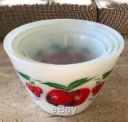 Fire King Apples & Cherries Milk Glass 4 Piece Splash Proof Mixing Bowl Set