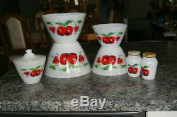 Fire King Apples & Cherries Mixing Bowls, Grease Jar & Salt And Pepper