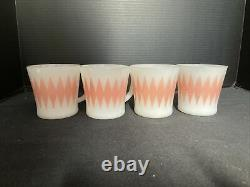 Fire King Glass Bake Pink Diamond Mug Set Of Four