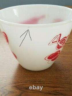 Fire King Red White Milk Glass Kitchen Aid Grease Jar Bowl with Lid