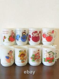 Fire King Strawberry Shortcake 8 mugs USA american tableware vintage antique