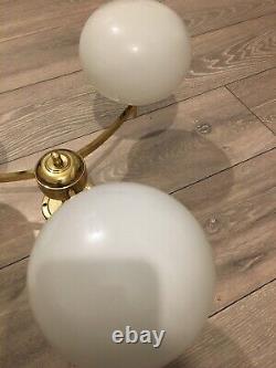 Franklite Brass Pendant Lights With Milk Glass Lampshades. Vintage