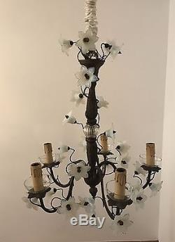 French Victorian Bronze Chandelier lamp opaline milk glass flowers candelabra