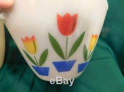 G2 Anchor Hocking Fire King Tulip Mixing Bowl Set of 4 ++ Tulip Grease Jar