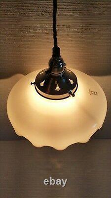 German Antique Schott&Gen Jena Autosit White Milk Glass Ceiling Light Shade 30s