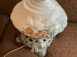 Gone with the Wind Lamp Embossed milk glass hand painted Vintage floral gwtw