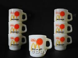 Good Morning McDonald's Anchor Hocking Fire King Milk Glass Coffee Cup 7 Pcs