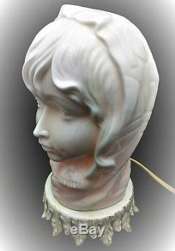 Gorgeous Antique Art Deco white opal glass / milk glass lady lamp very scarce