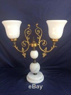 Gorgeous French White Marble Milk Glass & Brass Antique Lamp
