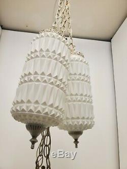 HOLLYWOOD regency Vintage Virden 2 Globe Chunky Milkglass Pendant Swag light