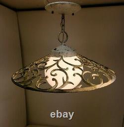 HOLLYWOOD regency Vintage Virden Globe Milkglass Pendant Ceiling Light Fixture