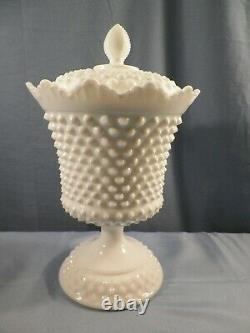 HTF Fenton White Milk Glass Hobnail #3986 Large Footed Covered Urn