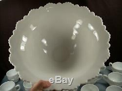 HTF Westmoreland Milk Glass OLD QUILT Punch Bowl Set with Base & 12 Cups