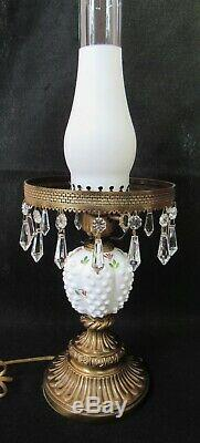 Hand Painted Fenton Violets on Hobnail Milk Glass Lamp with Prisms Artist Signed