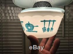 Hazel Atlas Kitchen Aids Mixing Bowl Set 4 Turquoise Milk Glass Bowls Excellent