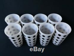 Hazel Atlas Platonite Milk Glass Black Polka Dot Tumblers Fire King Matching Set