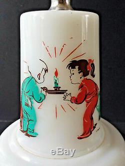 Hazel Atlas Platonite Milk Glass Child's Lamp Vintage 1956 Pink Turquoise Print