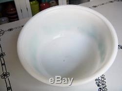 Hazel Atlas Platonite Milk Glass Green Strawberry Mixing Bowl Extremely RARE